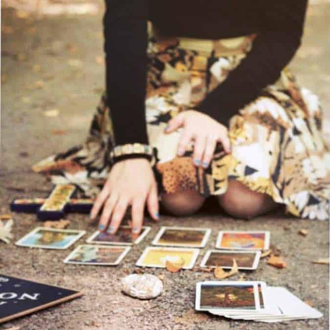 Girl reading tarot