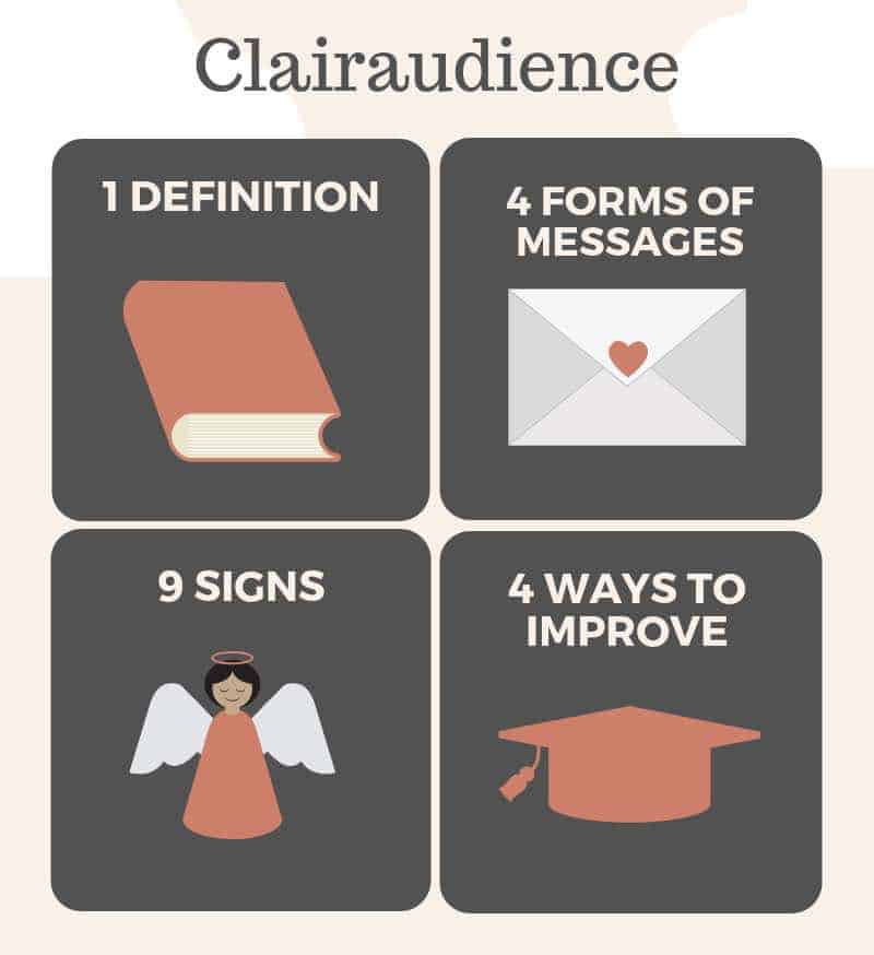infographic with clairaudience meaning, messages, signs and ways to improve clairaudience