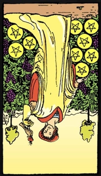 reversed nine of pentacles tarot card