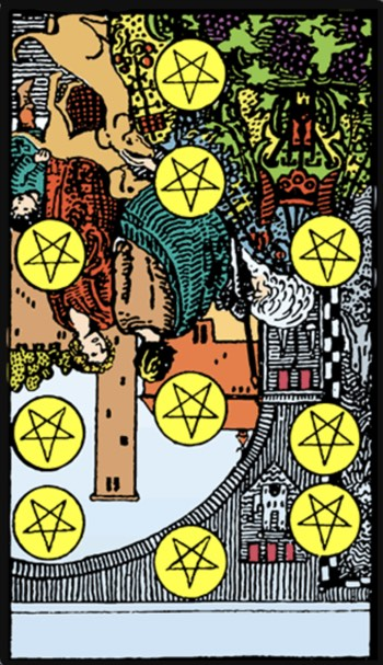 reversed ten of pentacles tarot card