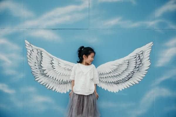 girl looking like angel