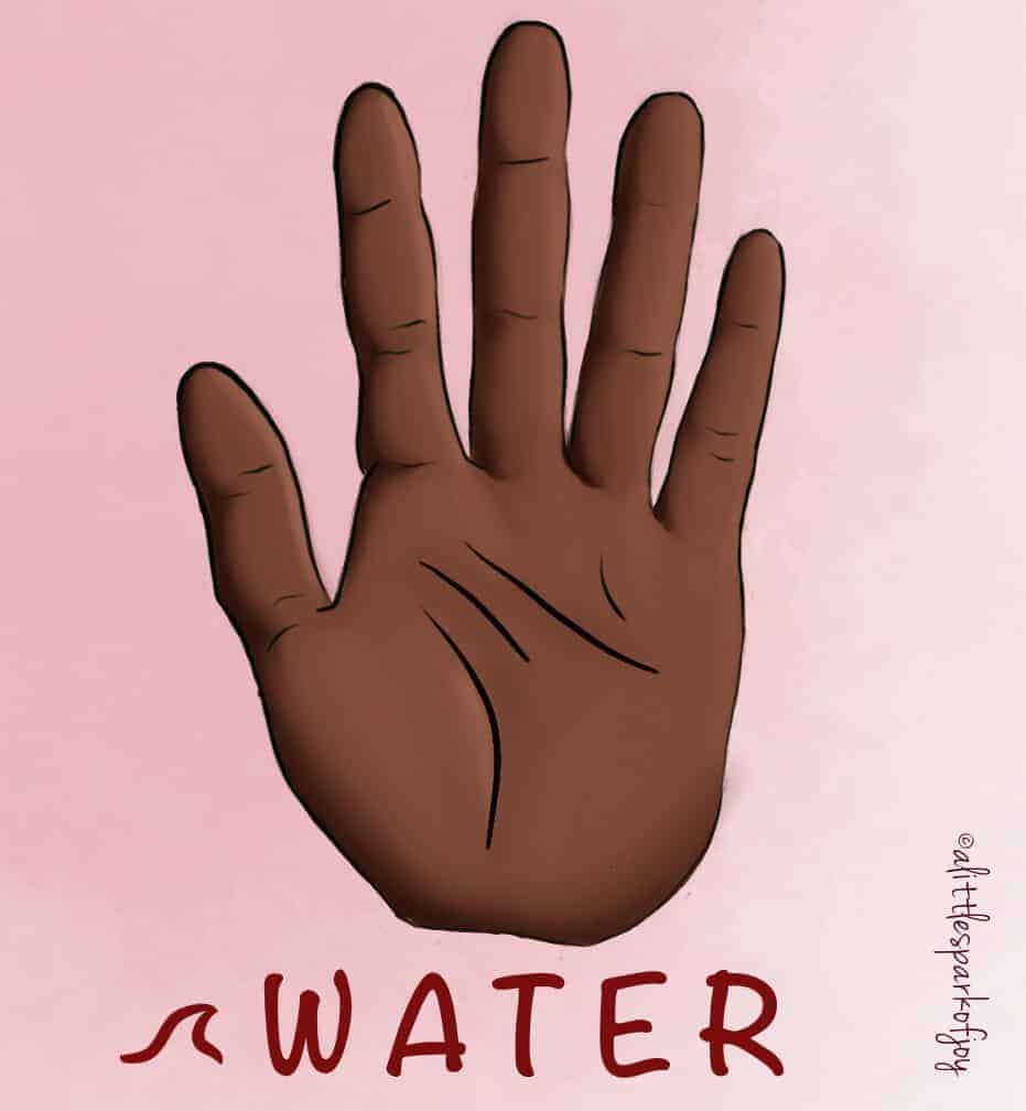 palm reading water hand