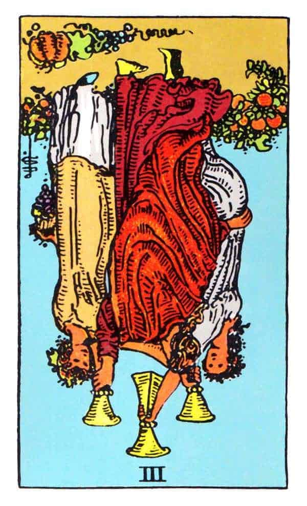 three of cups reversed