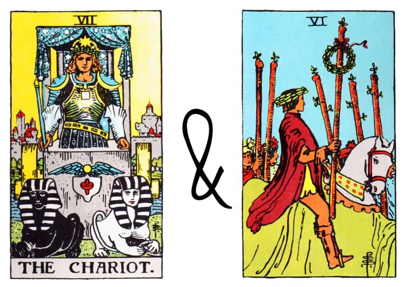chariot six of wands tarot card combinations