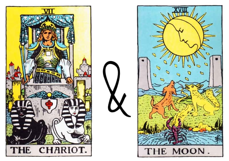 chariot the moon tarot card combinations