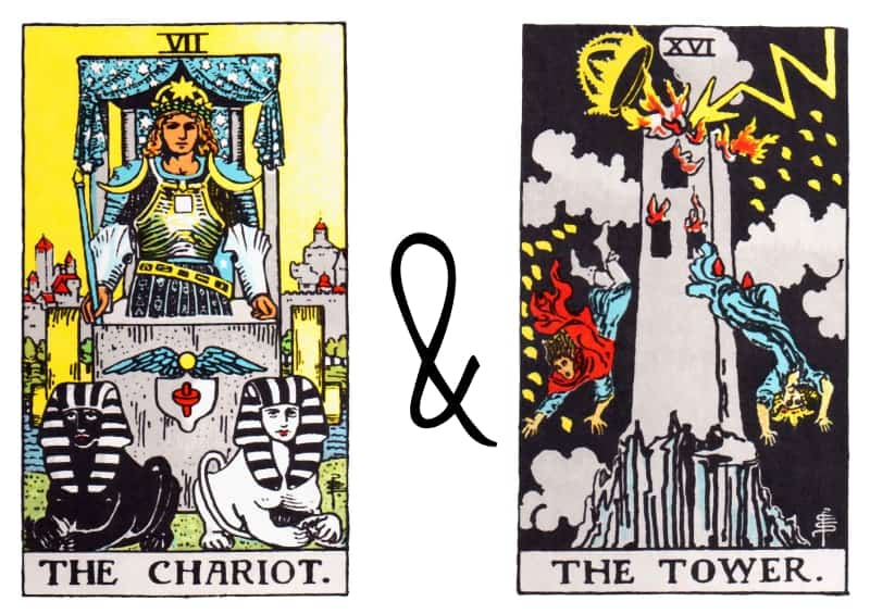 chariot tower tarot card combination