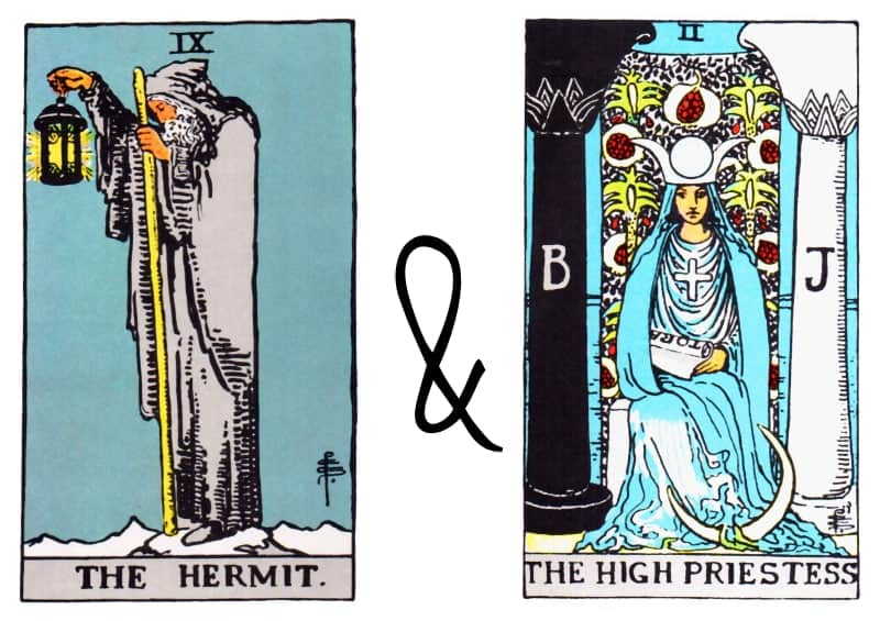 hermit and high priestess combinations tarot