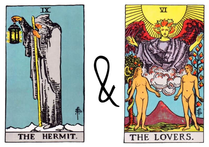 hermit and lovers card combinations tarot