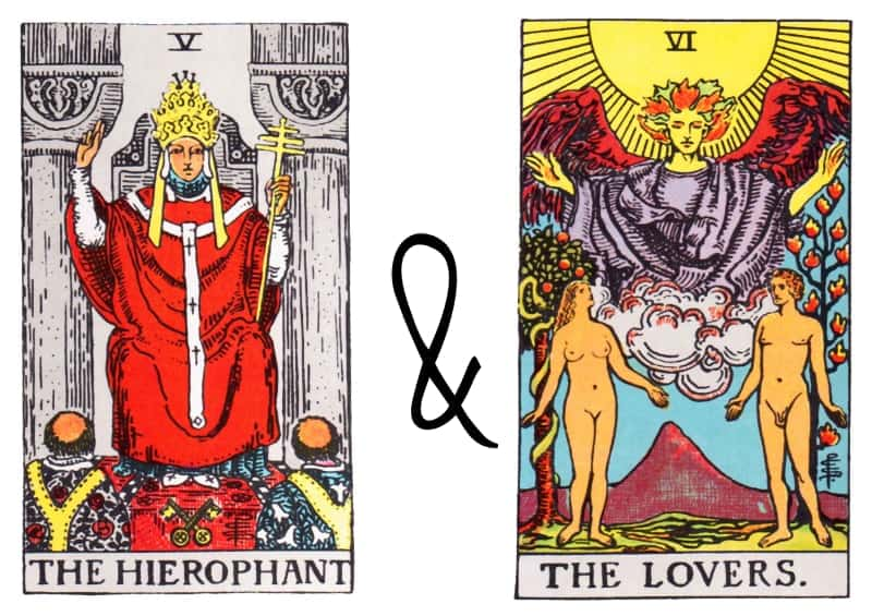 hierophant the lovers card combination tarot