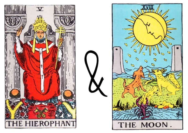 hierophant the moon card combination tarot