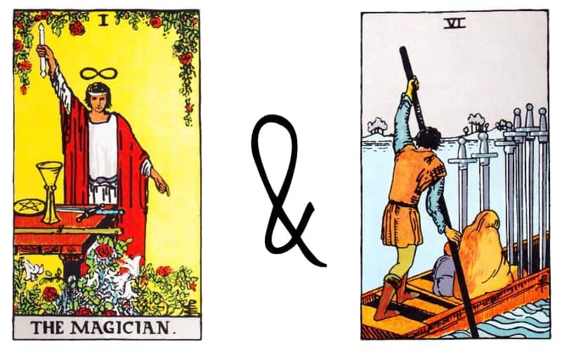 magician six of swords card combinations in tarot