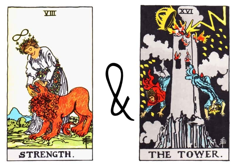strenght and the tower card combination tarot