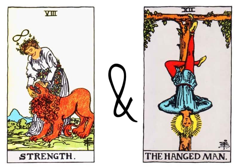 strenght hanged man card combination tarot
