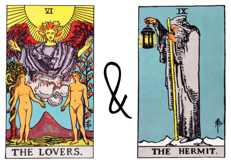 the lovers and hermit combinations in tarot