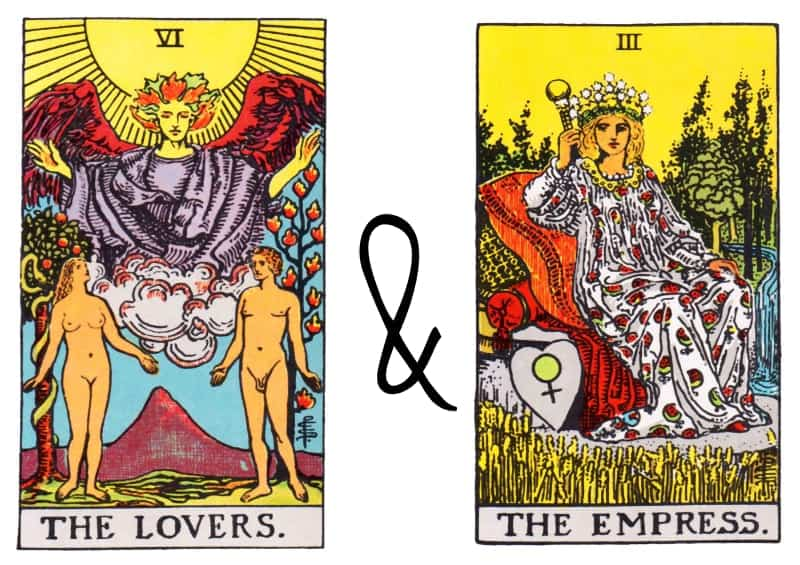 the lovers and the empress card combinations tarot