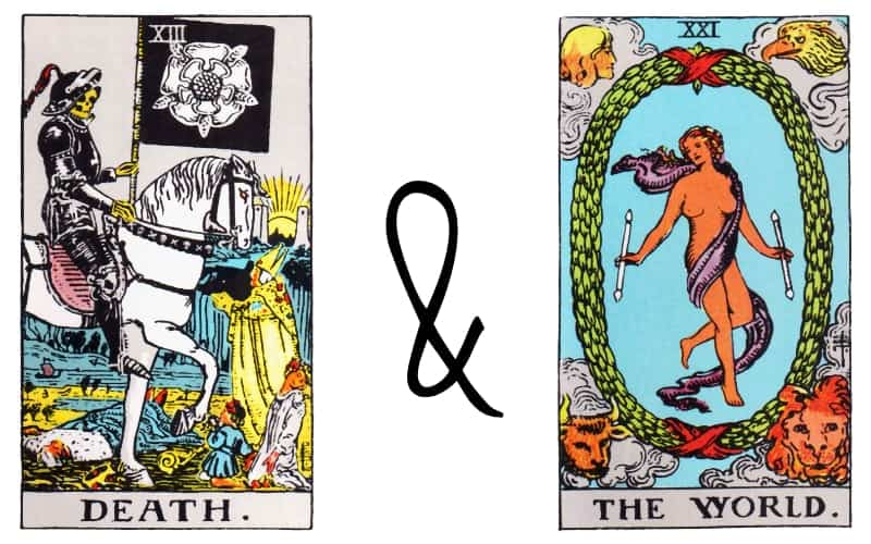 death card tarot and the world combination