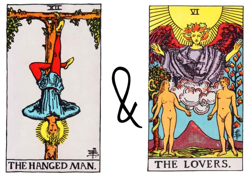hangedman and lover tarot card combi