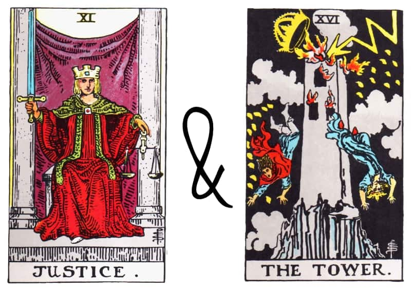 justice combined with the tower card tarot