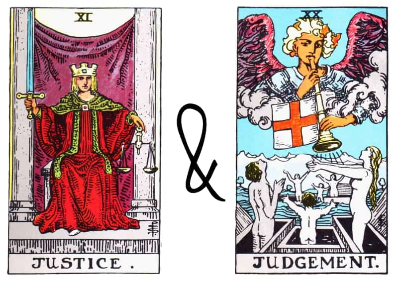justice judgement card combination in tarot