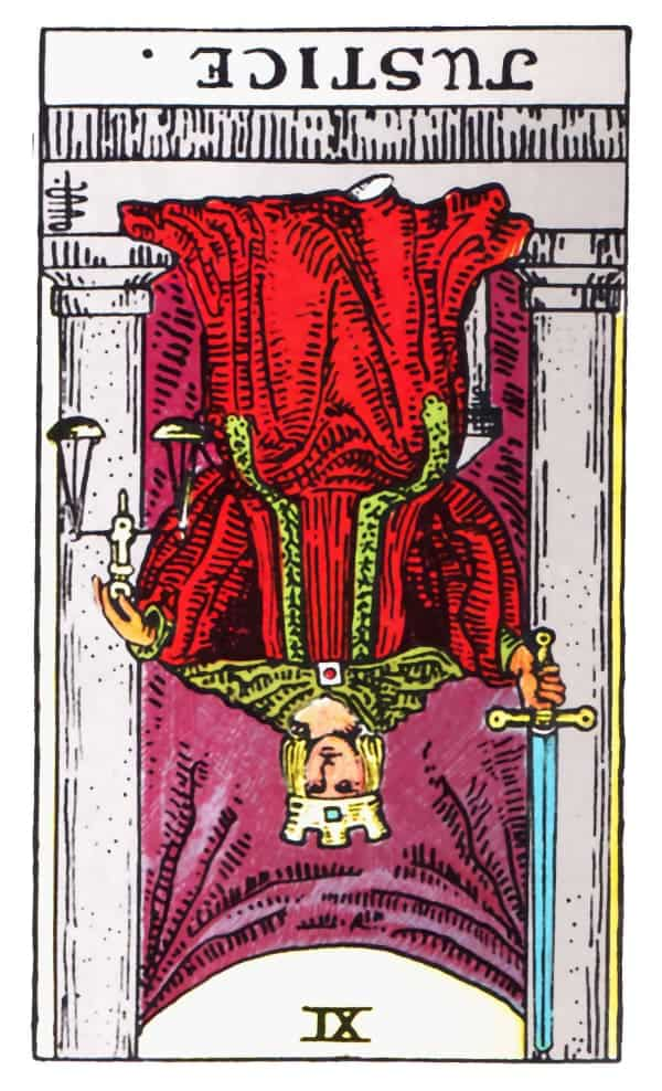 justice tarot card reversed meaning
