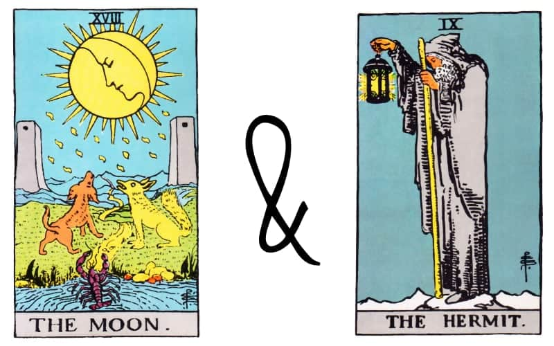 moon and the hermit tarot cards combined