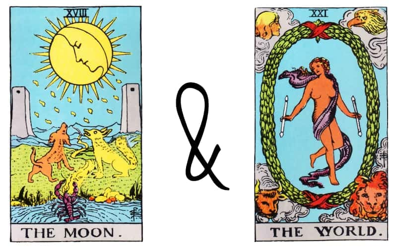 moon and world card combination tarot