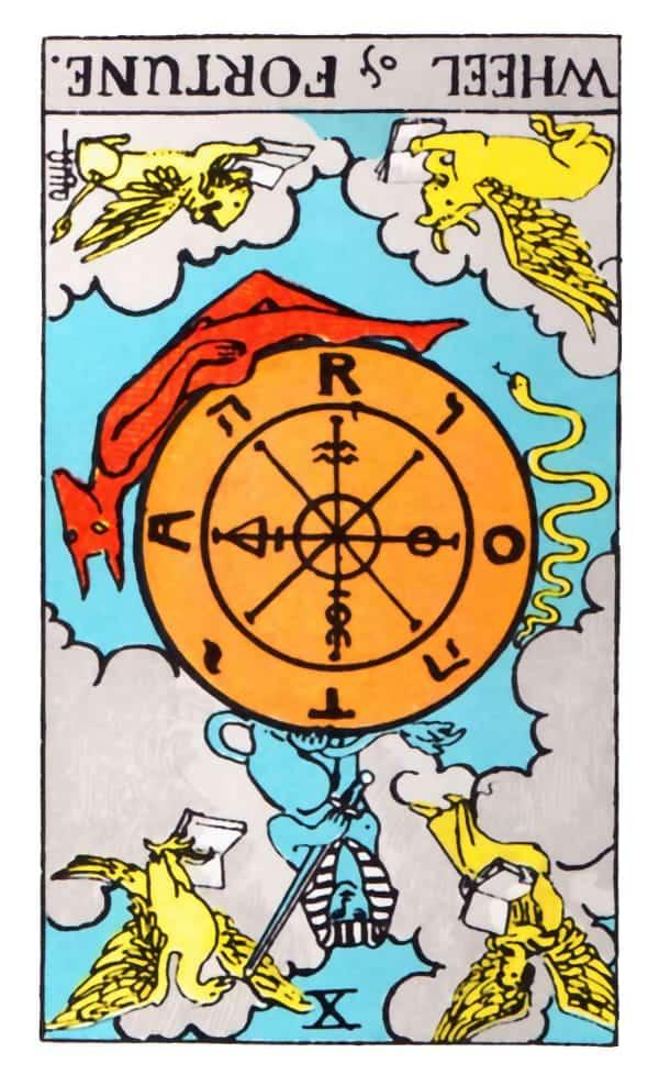 reversed wheel of fortune tarot card