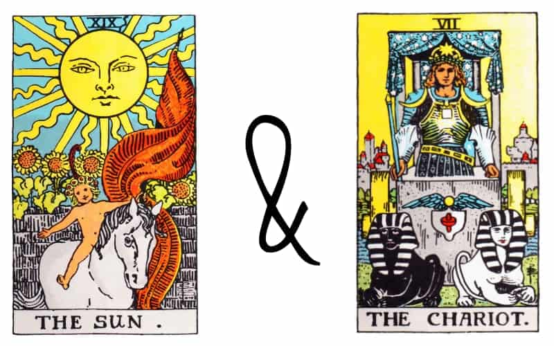 sun and chariot card combination in tarot