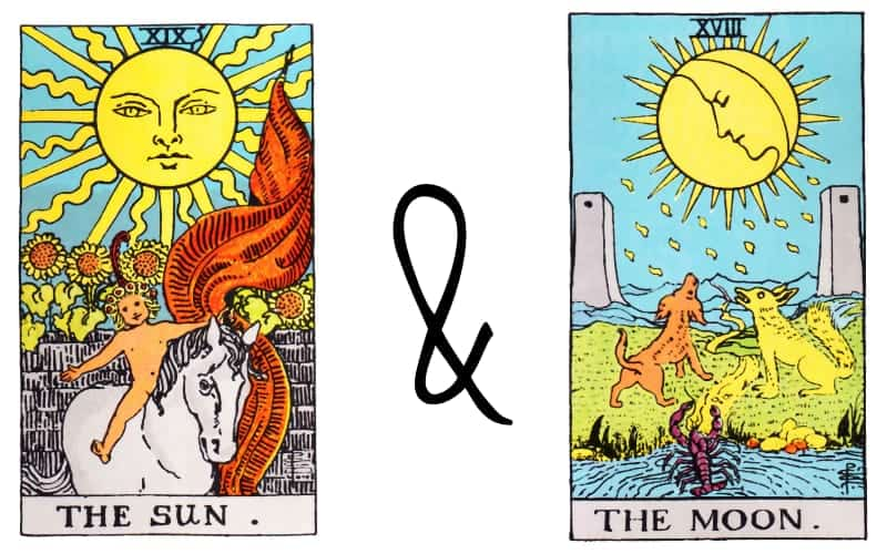 sun and moon tarot card combined