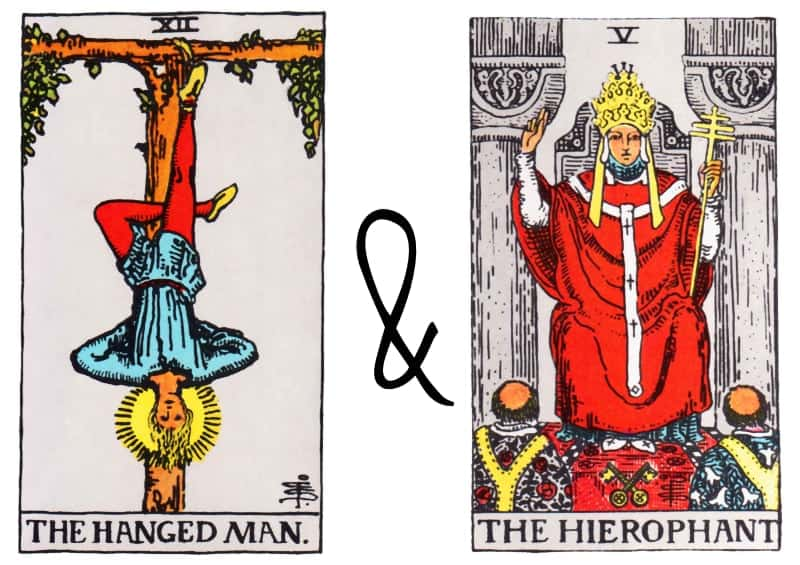 the hanged man combined with hierophant card
