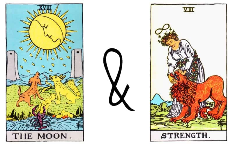 the moon and strength tarot card combination