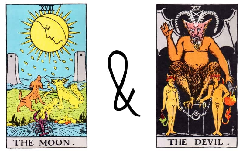 the moon the devil tarot card combination