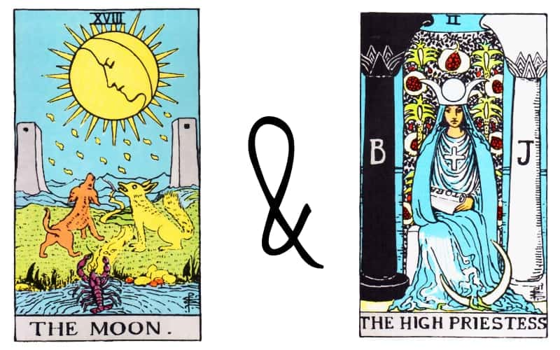 the moon with the high priestess combination