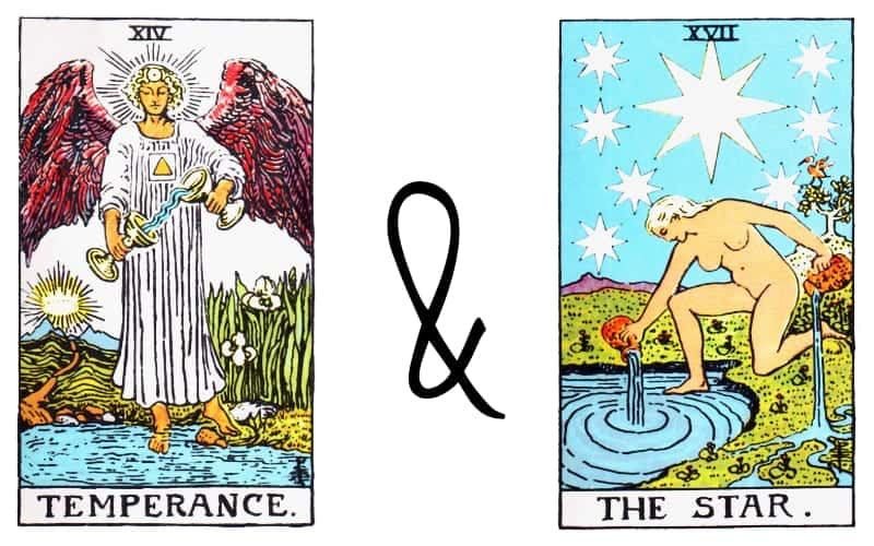 the temperance combination with star tarot card