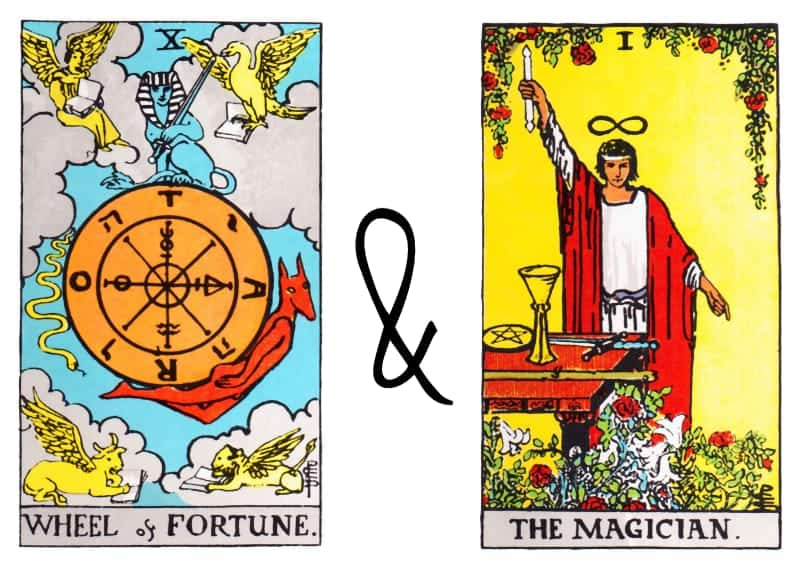 the wheel of fortune tarot magician card combination