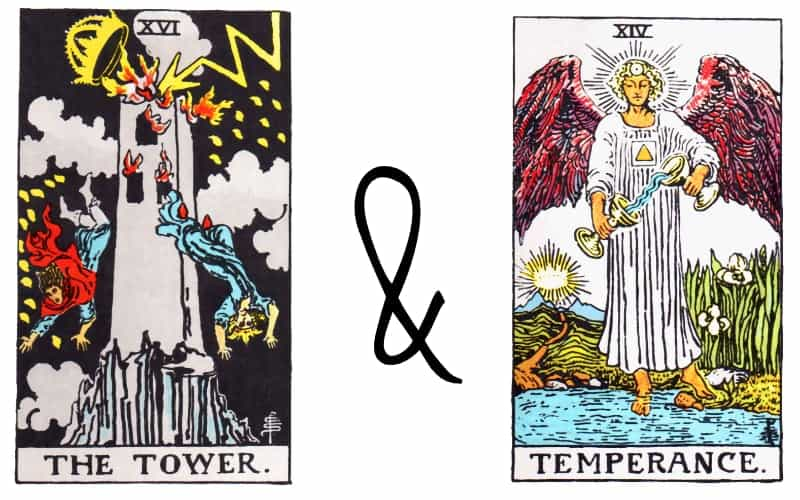 tower and temperance tarot card combination