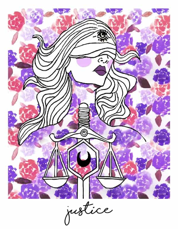 justice tarot card spark joy deck