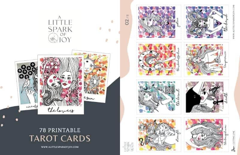 printable tarot cards a little spark of joy deck