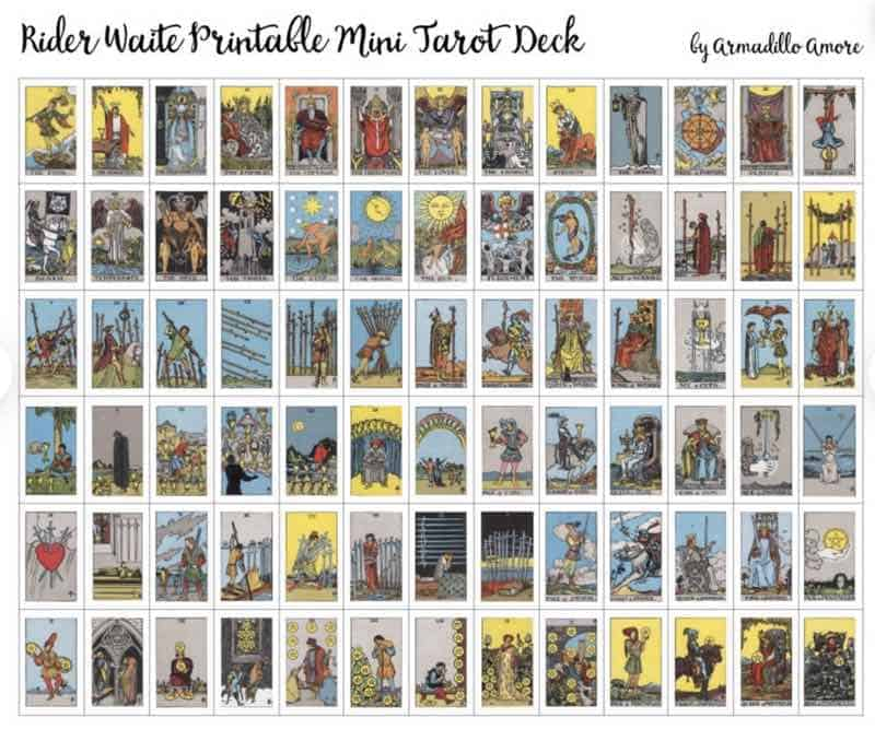mini printable tarot cards