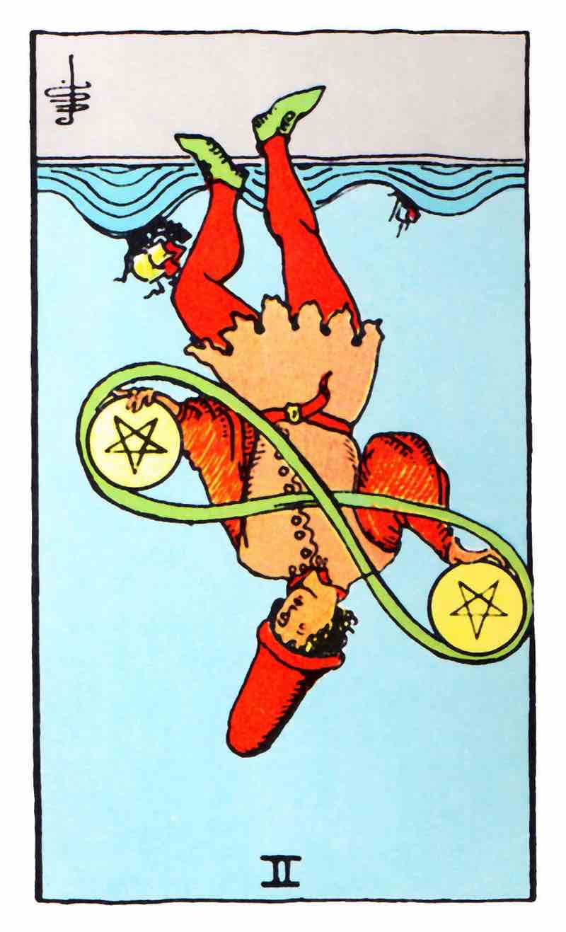 two of pentacles reversed